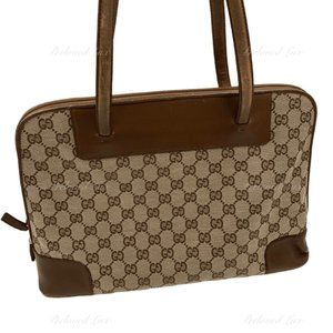 Authentic Gucci Brown Canvas Monogram Tote Bag